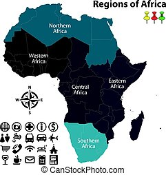 Regions of Africa - Vector map of regions of Africa with...