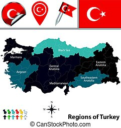 Map of Turkey with Regions - Vector map of Turkey with named...