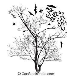 Vector graphics of trees and bats on white background
