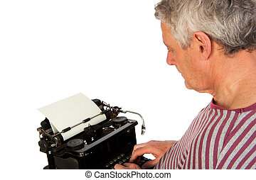 Writer - Elderly man is writing with an old antique black...