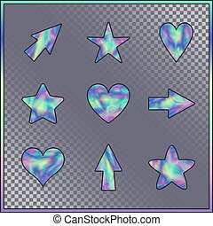 Set of Stars, Hearts, Arrows with Holographic Effect. Kit of...
