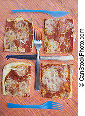 geometries with pieces pizza and cutlery - geometric...