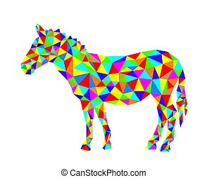 Geometrical Zebra, art vector polygonal design