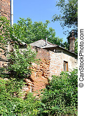 The old house is in brushwood - The wall of red brick is...