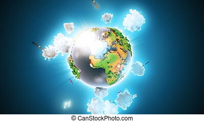 Realistic Earth Rotating on blue Loop. Globe is centered in...