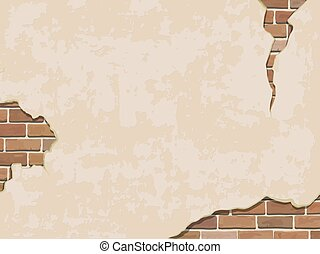 Weathered wall background with brick