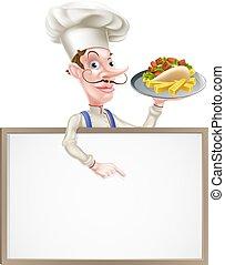 Cartoon Chef Kebab Signboard - An Illustration of a Cartoon...