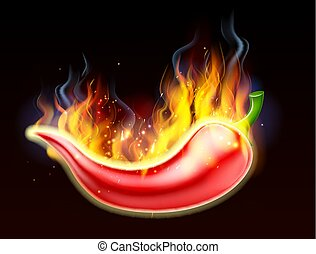 Flaming Hot Red Chilli Pepper - A burning hot spicy red...