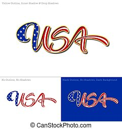 USA Flag Caligraphic Text - Vector illustration of a...