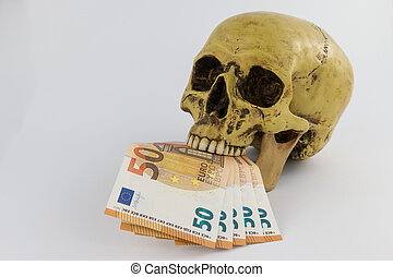 Skull with Euro bills in his mouth - Skull with several Euro...