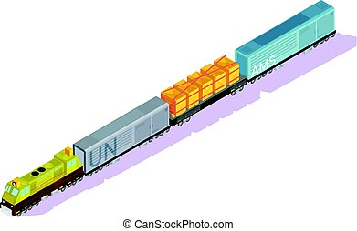 Railroad Train Isometric Composition - Trains isometric set...