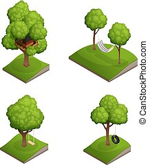 Tree Swing Icon Set - Yard tree swing set with four isolated...
