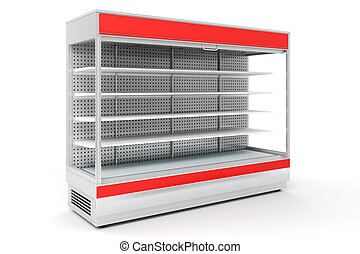 3d empty supermarket shelves