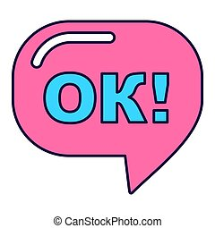 pink ok sign - Pink ok sign lines icon. Fashion patch, pin...