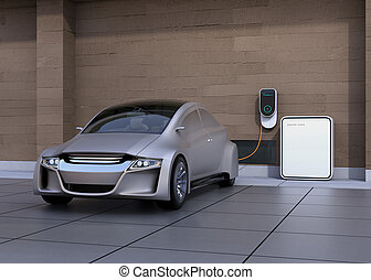 Silver electric car charging at home. Power supply for...