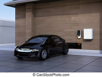 Black electric car charging at home. Power supply for...