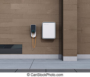 Front view of home EV charging station and battery - Front...