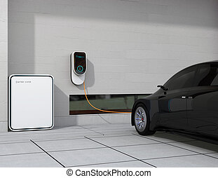 Charging black electric vehicle at home. 3D rendering image.