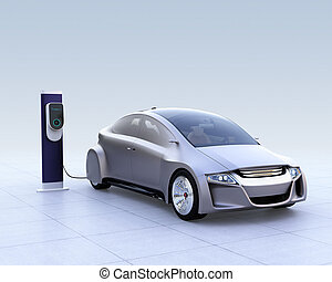 Silver electric car and EV charging station on gradient...