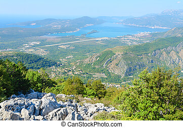 View from above on Tivat Gulf and city of Tivat, Montenegro...