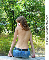 modest seminude girl - beautiful modest seminude girl sits...