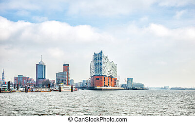panoramic view of Hamburg city and Elbphilharmonie, a...