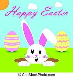 Happy Easter Rabbit in a Hold
