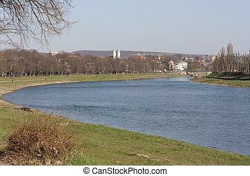 View on the main bridge across the river Uzh in Uzhhorod in...