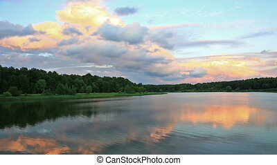 landscape with sunset on lake - Nice landscape with forest...