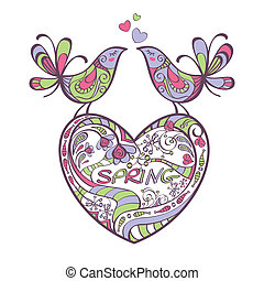 heart, birds, spring vector illustration