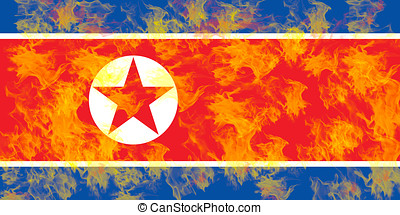 Flag of North Korea Flames. - Illustration of the flag of...