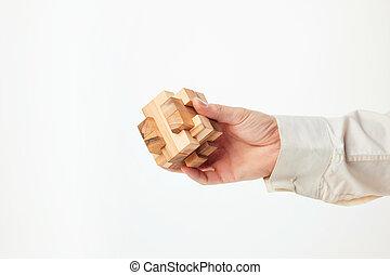 madeira, homem, Quebra-cabeça, segurando, mãos