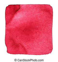 Red wry watercolor square with stains. Abstract element for...