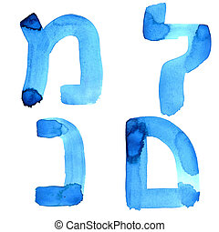 Letters of hebrew alphabet - Blue watercolor letters of...