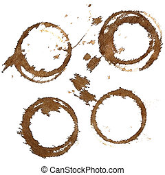 Set of coffee stains on textile tablecloth isolated on the...