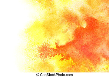 Yellow red watercolor background with isolated edge and...