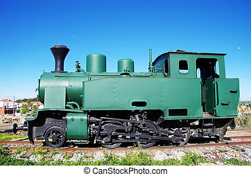 Vintage steam train in exposition at Portugal