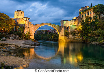Old Bridge in Mostar, Bosnia and Herzegovina - Old Bridge at...