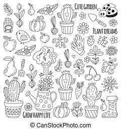 Cute vector garden with birds, cactus, plants, fruits, berries, gardening tools, rubberboots Garden market pattern in doodle style for coloring pages, coloring books