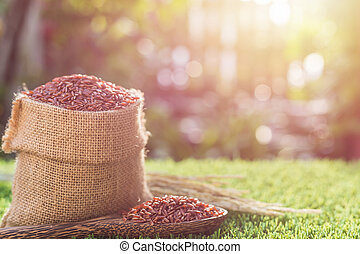 Red Thai jasmine rice in small sack on green grass with...