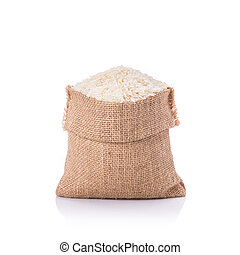 Thai jasmine rice in small sack. Studio shot isolated on...