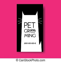 Pet grooming business card design template with cat silhouette.