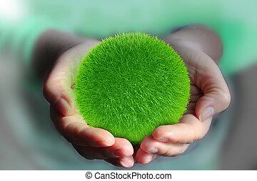 ball from green grass