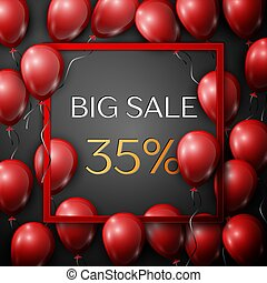 Realistic red balloons with text Big Sale 35 percent Discounts in square red frame over black background. SALE concept for shopping, mobile devices, online shop. Vector illustration