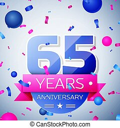 Sixty five years anniversary celebration on grey background....