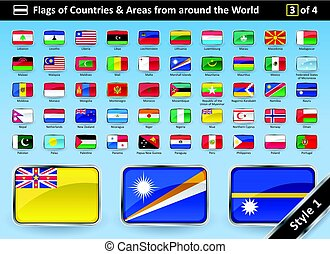 Country Flags and Areas from around the World STYLE 1 -...
