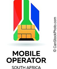 South Africa mobile operator. SIM card with flag. Vector illustration.