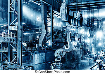 Steel mill production workshop - Large steel mill production...