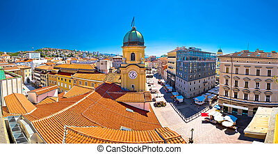 City of Rijeka clock tower and central square panorama,...