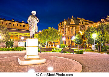 City of Rijeka square and architecture evening view, Kvarner...